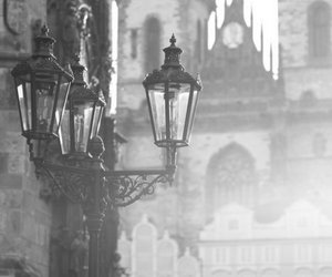 prague, black and white, and foggy image