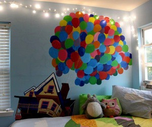 up, room, and balloons image