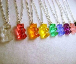 necklace, bear, and gummy bears image