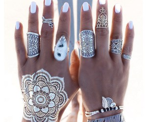 rings, tattoo, and henna image