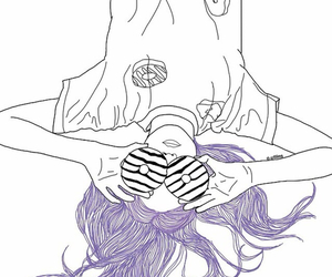 girl, outline, and donuts image