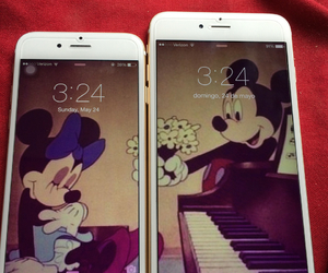 gold, minnie & mickey, and iphone 6 image