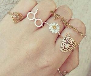 rings, diamond, and flowers image