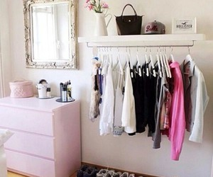 bedroom, clothes, and pink image