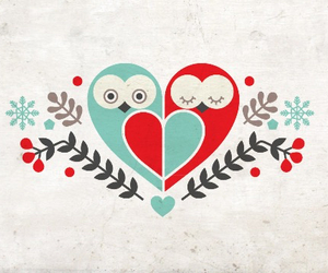 owl, love, and heart image