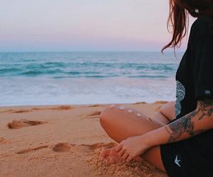 beach, girl, and sand image