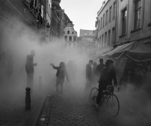 bicycle, brussels, and fog image