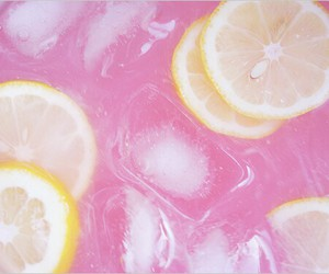 lemon, pink, and drink image