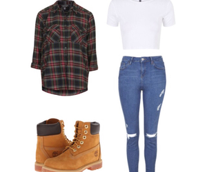 outfit, timberland, and jeans image