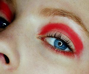 blue eyes, eyeshadow, and magenta image