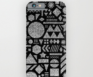 black and white, cell phone case, and geometric moon sun image