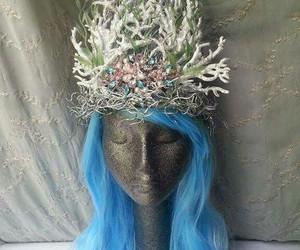 crown, gems, and mermaid image