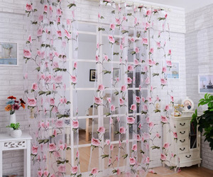 curtain, voile, and flower image