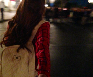 backpack, brown hair, and flannel image