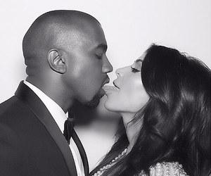 kanye west, kim kardashian, and couple image