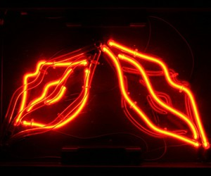neon, lips, and red image
