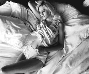 girl, bed, and black and white image