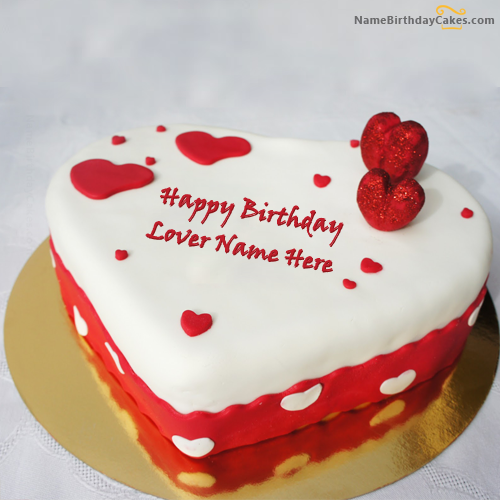 Prime Write Name On Ice Heart Birthday Cake For Lover Happy Birthday Personalised Birthday Cards Bromeletsinfo