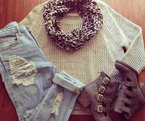 accesories, sweater, and jeans image