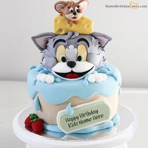 Write name on Tom Jerry Birthday Cake For Kids , Happy