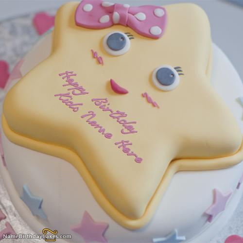Amazing Write Name On Star Birthday Cake For Kids Happy Birthday Wishes Personalised Birthday Cards Veneteletsinfo