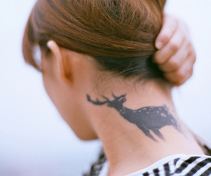 tattoo, girl, and deer image