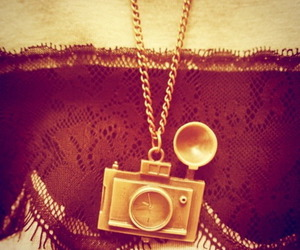 camera, clock, and necklace image