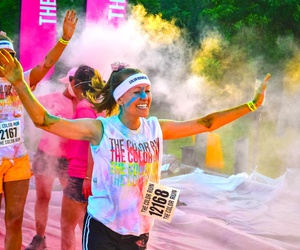 color run, fitness, and fun image