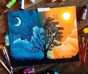 art, night, and drawing image