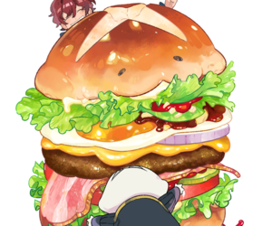 anime, burger, and watch image