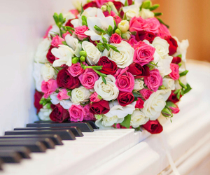 piano, flowers, and rose image