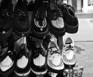 shoes, creepers, and black and white image