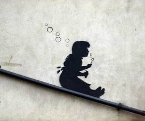 girl, bubbles, and BANKSY image