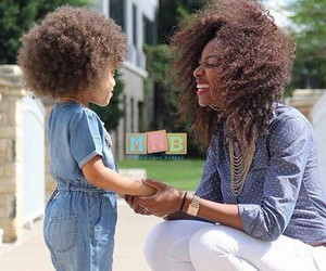 black, mother, and curly image