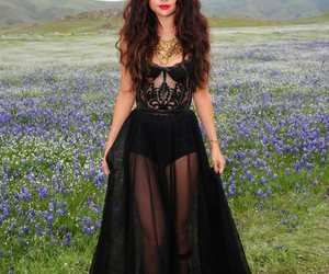 selena gomez, dress, and black image