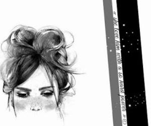art, black & white, and couple image
