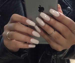 girl, nails, and iphone image