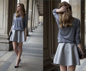 class, fashion, and grey skirt image