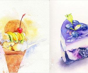 cake, ice cream, and anime food image