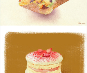 ice cream, anime cake, and yummy image