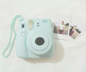 camera, blue, and instax image