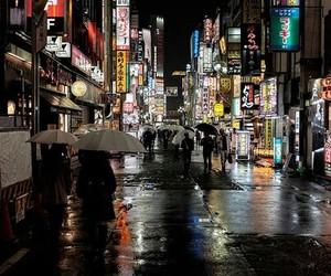 city, japan, and lights image