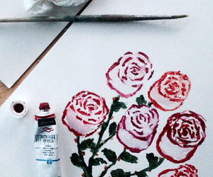 drawing, flowers, and paint image