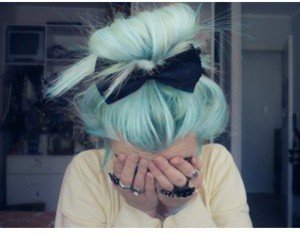 hair, bow, and green image
