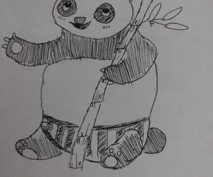 dessin, panda, and bambous image