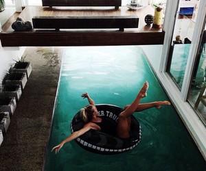 girl, pool, and house image