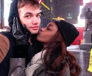 couple, snow, and times square image