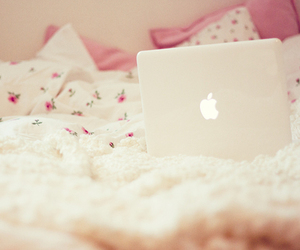 bed, apple, and pink image