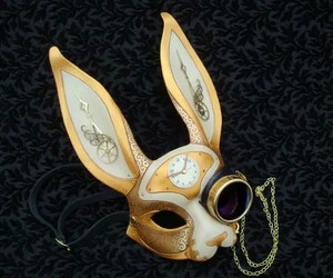 mask, rabbit, and steampunk image