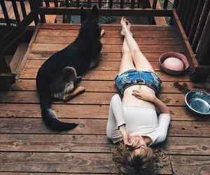 dog, girl, and friends image